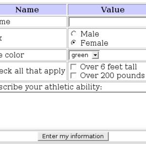 Sample web form